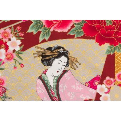 ¨Popeline Geisha sur fond rouge tissu japon japonais