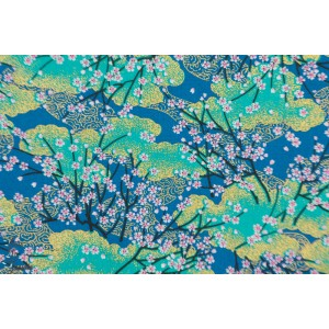 Popeline Sakura Bayashi bleu paysage nature arbre japon