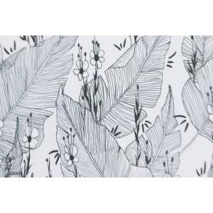 jersey Bio Palmenhauss Lillestoff feuille jungle graphique blanc