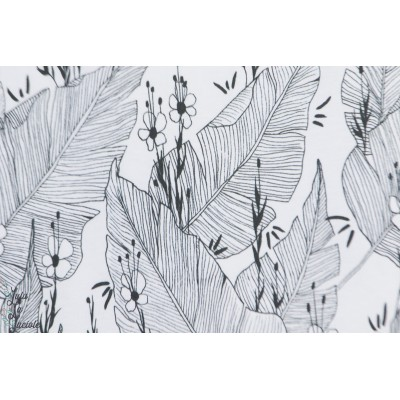 jersey Bio Palmenhauss Lillestoff feuille jungle graphique blanc