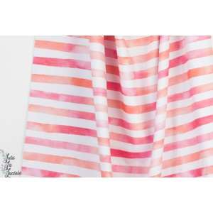 Jersey  Bio Aquarelringel Pink orange Lillestoff