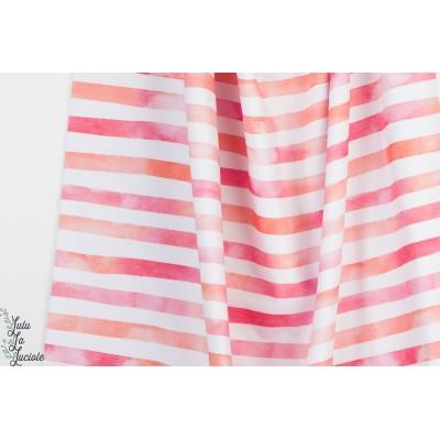 Jersey Aquarelringel Pink orange Lillestoff bio rayé pastel marin