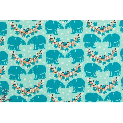 popeline coton bio de Soft cactus From Bearlin With Love Turquoise