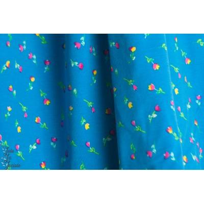 jersey AGF Caribbean Stream petite fleur bleu