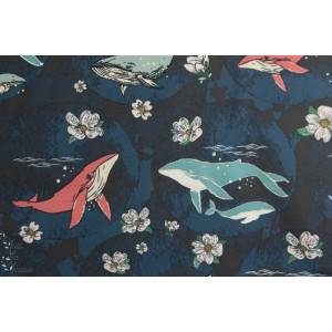 Popeline Underwater Enchant Lunar agf baleine voyae agf mer bleu