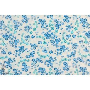 Popeline Petit Pan Hanako ivoire fleur bleu