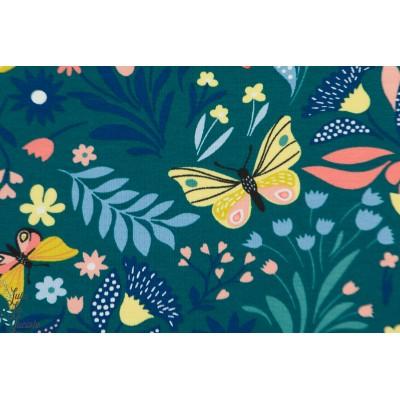Sweat Papillon et fleurs pétrole