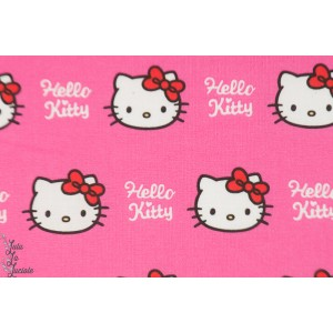Popeline Licence Premium hello Kitty chat fille rose