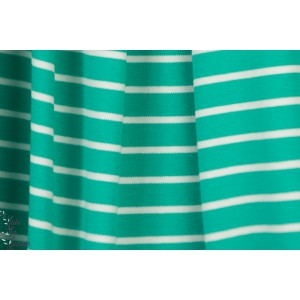 Interlock rayé Bio sea green blanc marinière polo cpauli bio