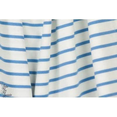 Interlock rayé Bio White marina bleu mariniére polo cpauli polo