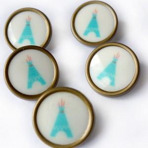 Bouton TIPI mcb madame casse bonbon résine vintage rétro