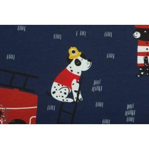 Jersey Bio FIREDOG dark Blue Tygdrommar pompier chien garçon feu enfant bleu