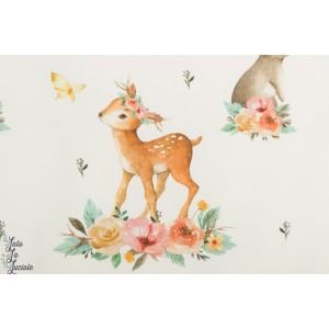 Jersey bio Spring Deer Tygdrommar biche animaux, fleur fille blanc lapin bambi enfant