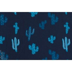 tissu coton mcb madame casse bonbon Popeline KAKTUS cactus bleu vintage