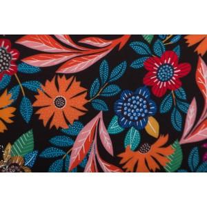 rayon Viscose Gardenia GAR1674 Dashwood fleur noir