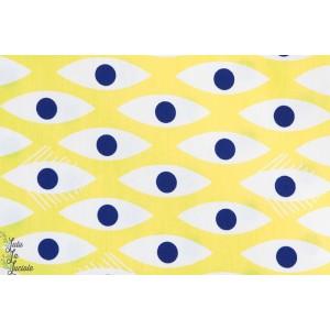 tissu coton mcb madame casse bonbon Popeline ZIEUX jaune rétro vintage, mode