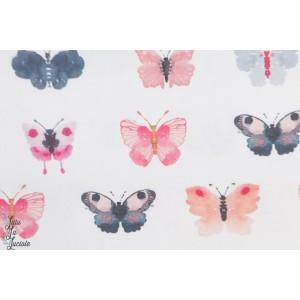 Popeline Dear Stella Butterflies in blanc papillon pastel