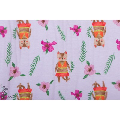 Jersey Chats des Iles en parme violet hawai fleur animaux