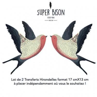 Transfert SUPER BISON Hirondelles coouture customisation oiseaux