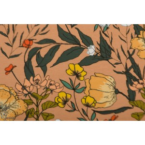 French terry SYAS Summer flowers camel brow,n fleur soft cactus