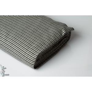 Tissu Bord-côte rayé gris anthracit