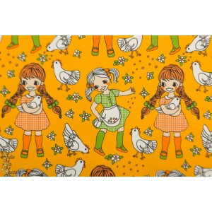Jersey girls whith Hen Yellow Vintage in my heart fillette poule fermiere jaune