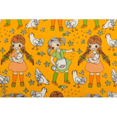 Jersey girls whith Hen Yellow Vintage in my heart fillette poule fermiere jaune
