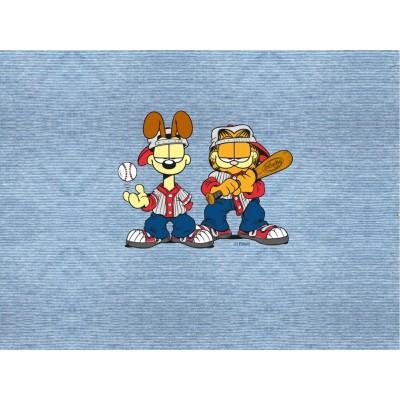 Panneau Garfield Jeans Look base ball bd bleu