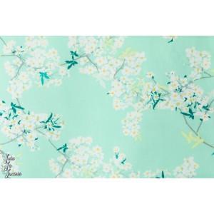 Popeline Fleurs de bambou fond bleu cerisier agf art gallery fabric coton femme