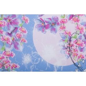 Jersey Bio Sommersonate Lillestoff romantique fleur bleu tante gisi fleur