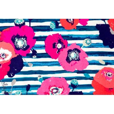 Jersey Coquelicot - Skopelos fleur rayé bleu kenzo agf art gallery