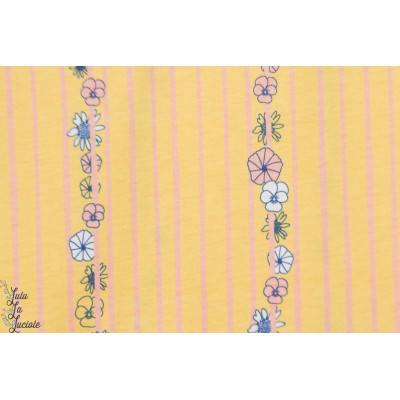 jersey Bio Weaving flowers Chat Chocolat rayure fleur jaune