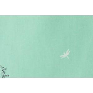 Popeline libellules sur fond vert d'eau