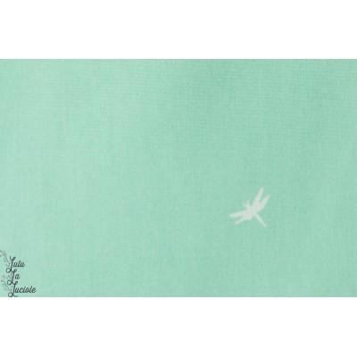 Popeline agf art gallery libellule aqua vert pollen doux pastel vent couture