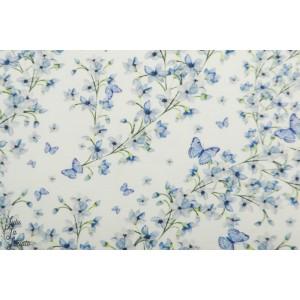 Jersey bio Tygdrômmar Alicia fleur printemps doux blanc bleu