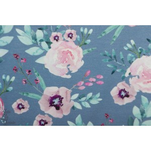 Jersey bio Tygdrômmar LOLA Blue fleur bleu