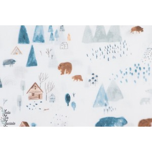Popeline dear Stela Dreamscape blanc paysage hiver