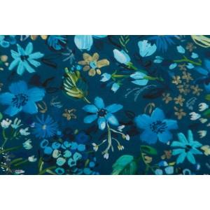 Popeline Dear Stella Night Garden Stella jardin fleur bleu