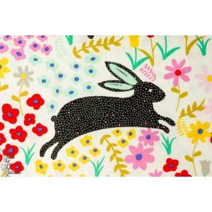 Popeline Bunny run alexander henry art design peinture naïf lapin