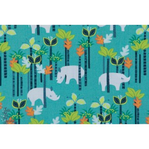 tissu Popeline coton  Sundaland Jungle - Rhino blend rhinocéros jungle
