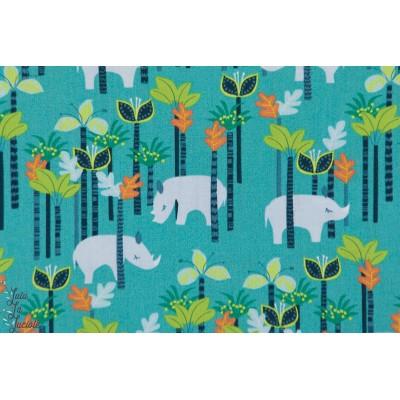 tissu Popeline coton  Sundaland Jungle - Rhino blend rhinocéros jungle