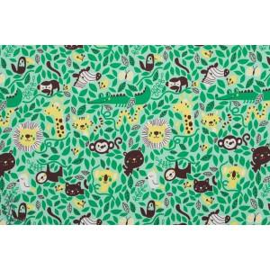 Summersweat Bio Rumble in the jungle Lillestoff BORA animaux vert lion crocodile singe enfant bébé