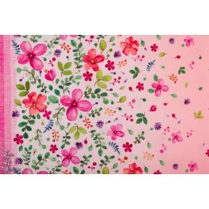 Popeline Double bordure Hapinees rose fleur zen garden michael miller