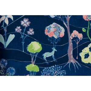 Popeline Garden Party fond Bleu magie animaux blend popeline coton