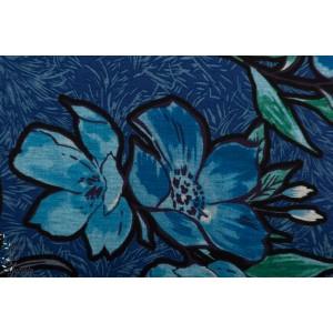 Jersey polyester fleur bleu