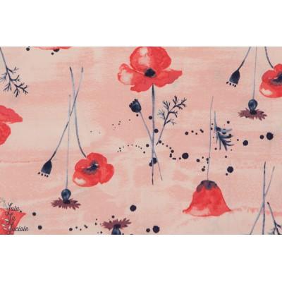 tissu Popeline coton Bio Wildflower fleur sauvage coquelicot monaluna