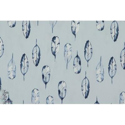 tissu Popeline de coton Bio  Feather plumes monaluna bleu