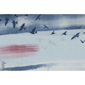 Batiste de coton Bio lawn  Sky ciel envolée d'oiseau MONALUNA