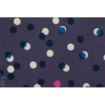 tissu coton Popeline Jubilee Pois  fond marine cotton ans steel c+s mode femme couture