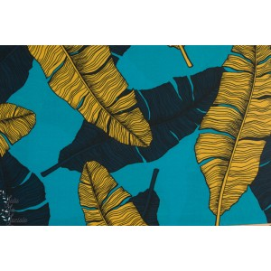 Viscose Oiseau Tropical Plume Bleu